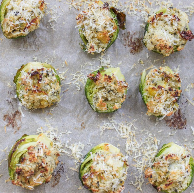 Stuffed Brussels Sprouts with Garlic and Herbs