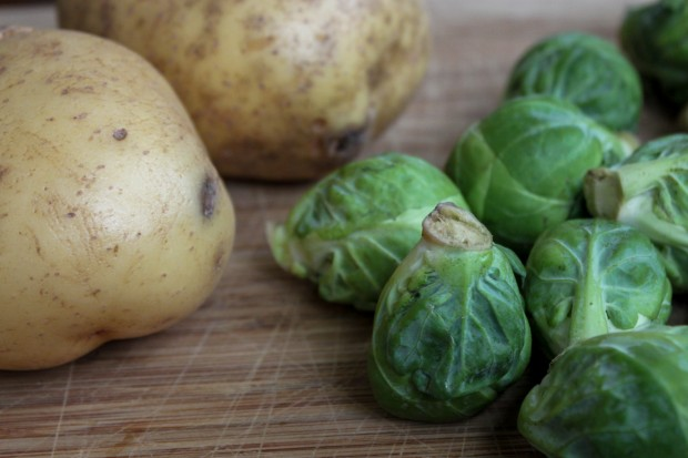 Brussels Sprouts and Potatoes for Latkes