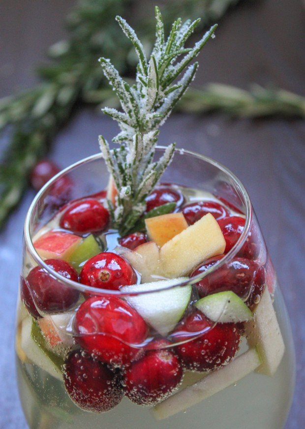 Rosemary Cranberry White Sangria for Christmas