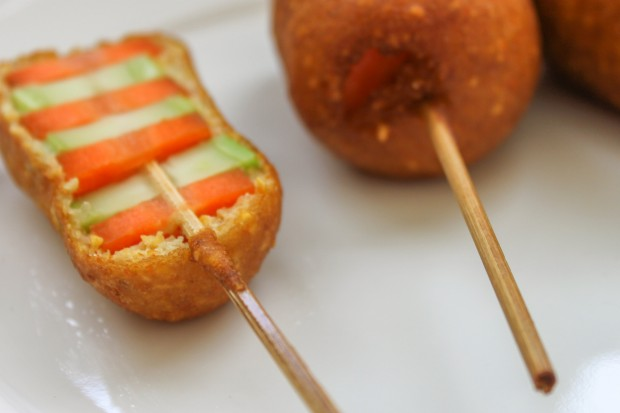 Beer-Battered Veggie Corn dogs Main