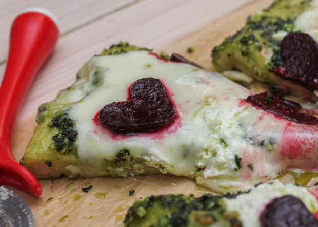 Valentine's Day Pizza with Beets & Kale Pesto Main