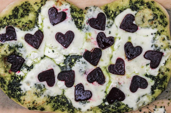 Valentine's Day Pizza with Beets & Kale Pesto Top