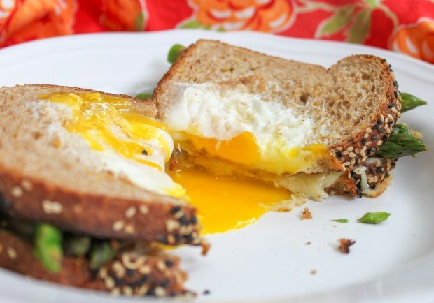 Egg in a Basket Grilled Cheese with Asparagus Close Up