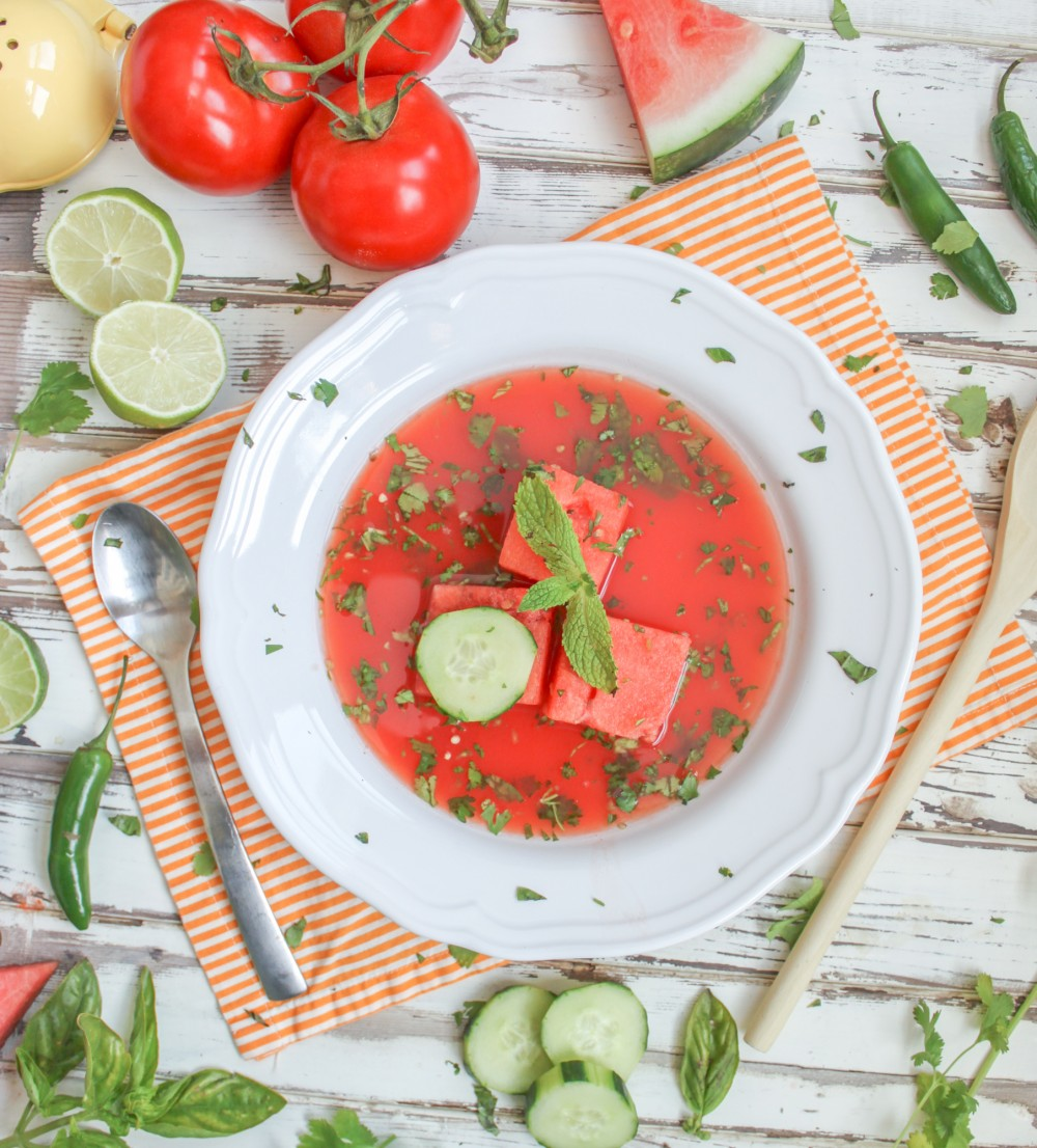 Spicy Watermelon Gazpacho Soup - Vegan Recipe - Cooking Stoned