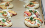 Mini Peach and Basil Pizzas