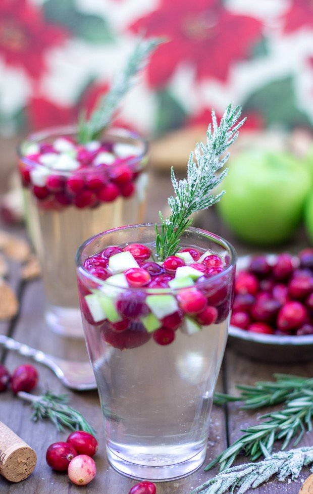 cranberry and rosemary white christmas sangria recipe