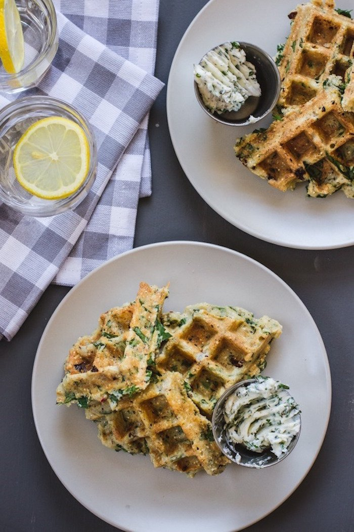 for dinner has to stop with pancakes? These Savory Green Power Waffles ...