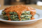 Spinach Pancakes with Tomato Cream Sauce