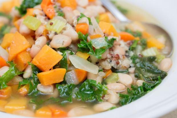 Kale Roasted Butternut Squash Soup Close Up