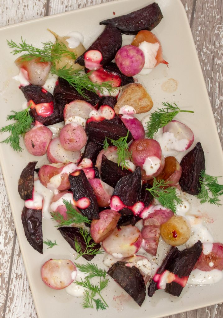 Roasted Beets Radishes with Garlic Dill Yogurt Sauce