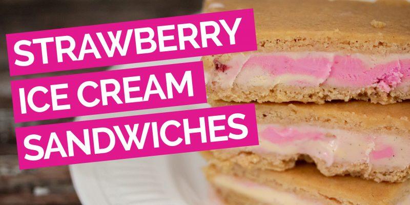 Lemon Ginger & Strawberry Ice Cream Sandwiches