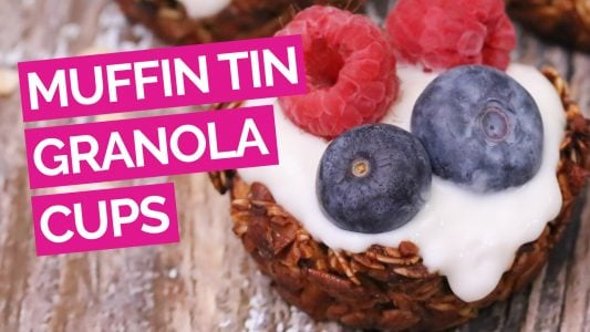 Berry Yogurt Muffin Tin Granola Cups video pink