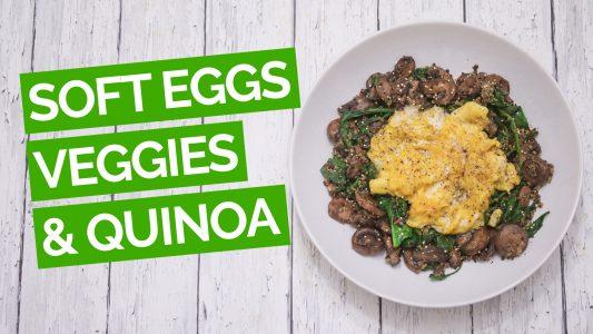 Soft Scrambled Eggs with Spinach, Mushroom & Quinoa