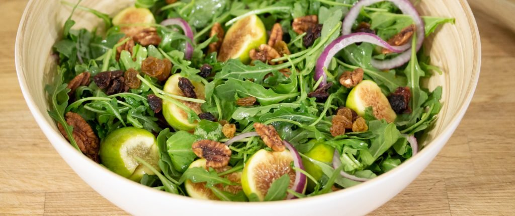 Arugula Red Onions Figs Pecans 1
