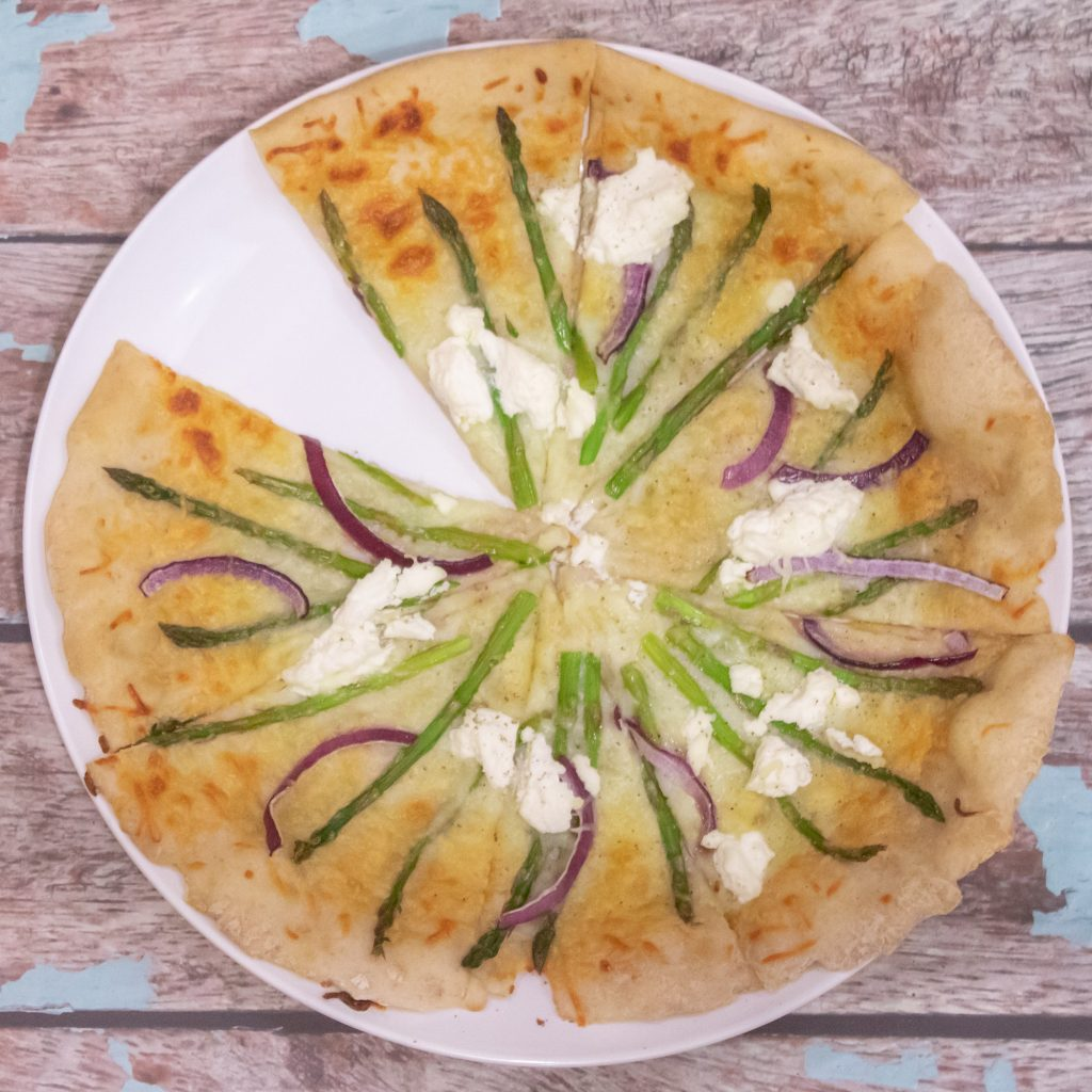 Asparagus Ricotta Garlic Pizza 1