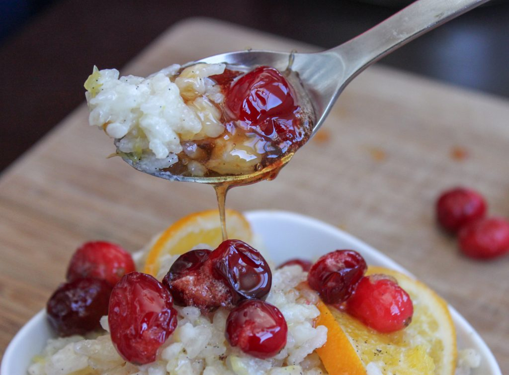 Baked Orange Vanilla Risotto with Honey Poached Cranberry 1 1