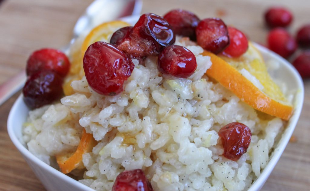 Baked Orange Vanilla Risotto with Honey Poached Cranberry 2 1