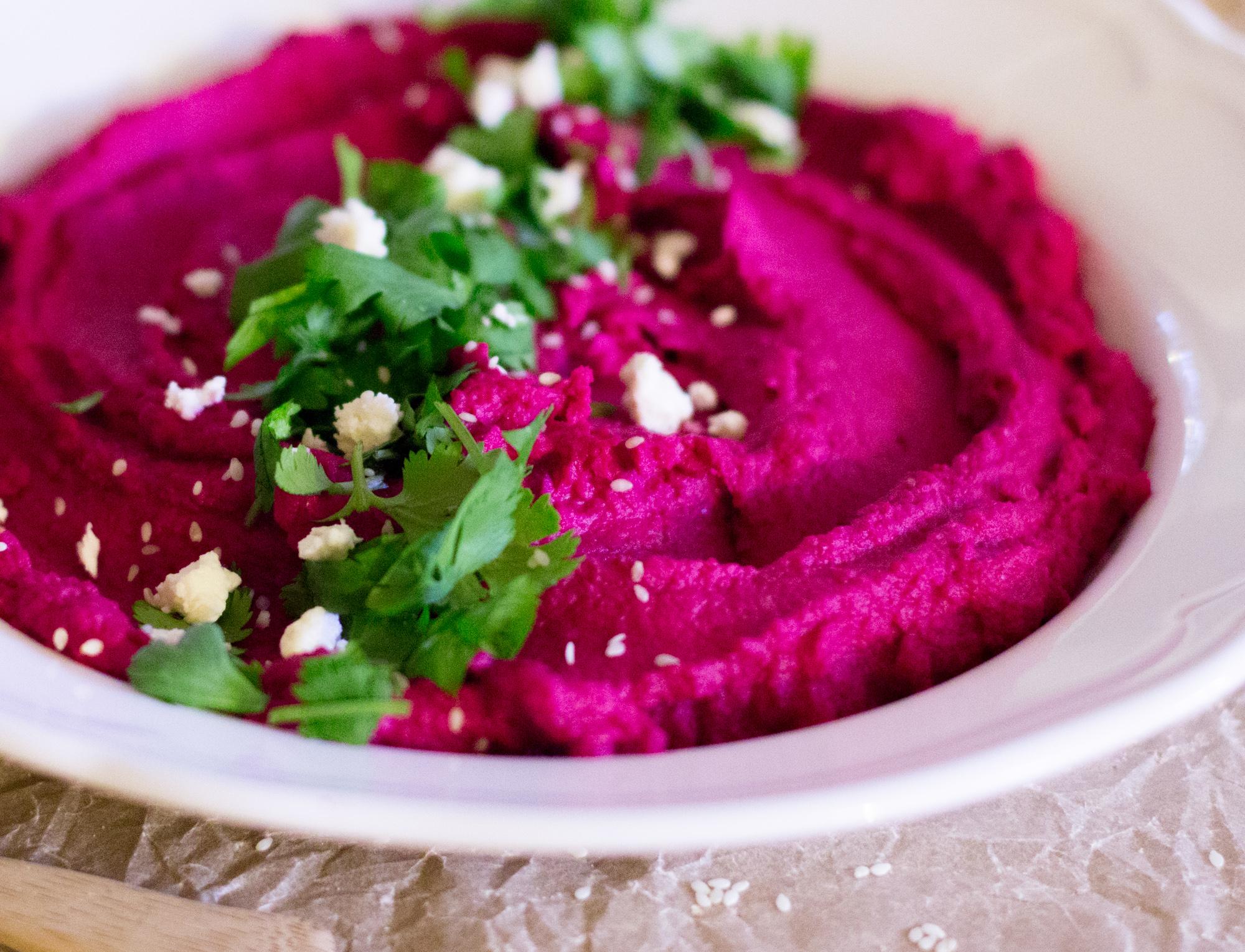 Beet Hummus with Cilantro Feta 1