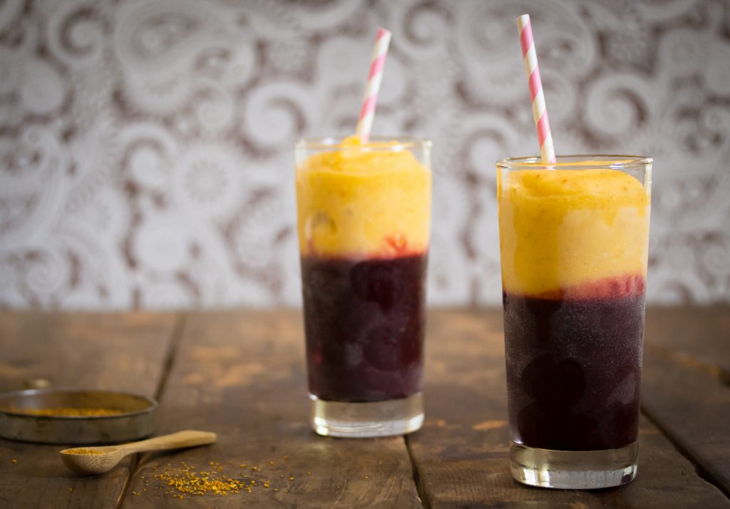 Berry Mango Smoothie with Turmeric Tea Landscape 1