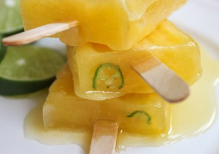Boozy Mango Popsicle with Lime Serrano Close Up 2 3