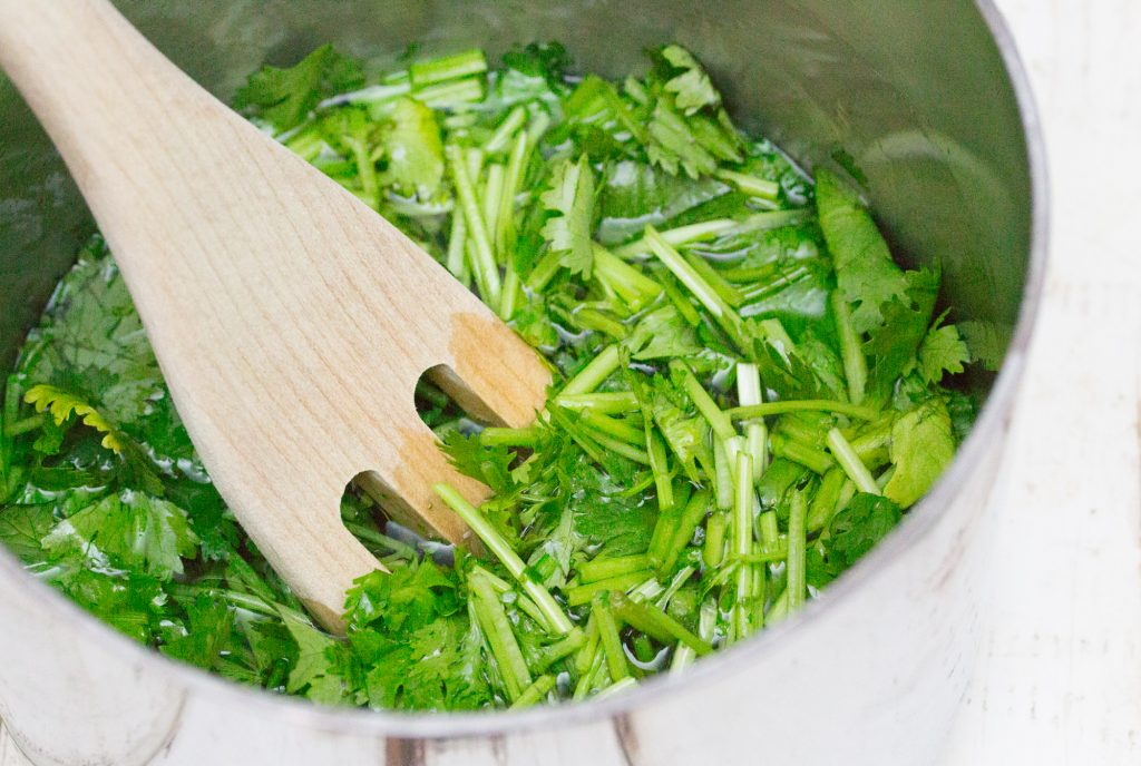 Cilantro Simple Syrup Simmering 3