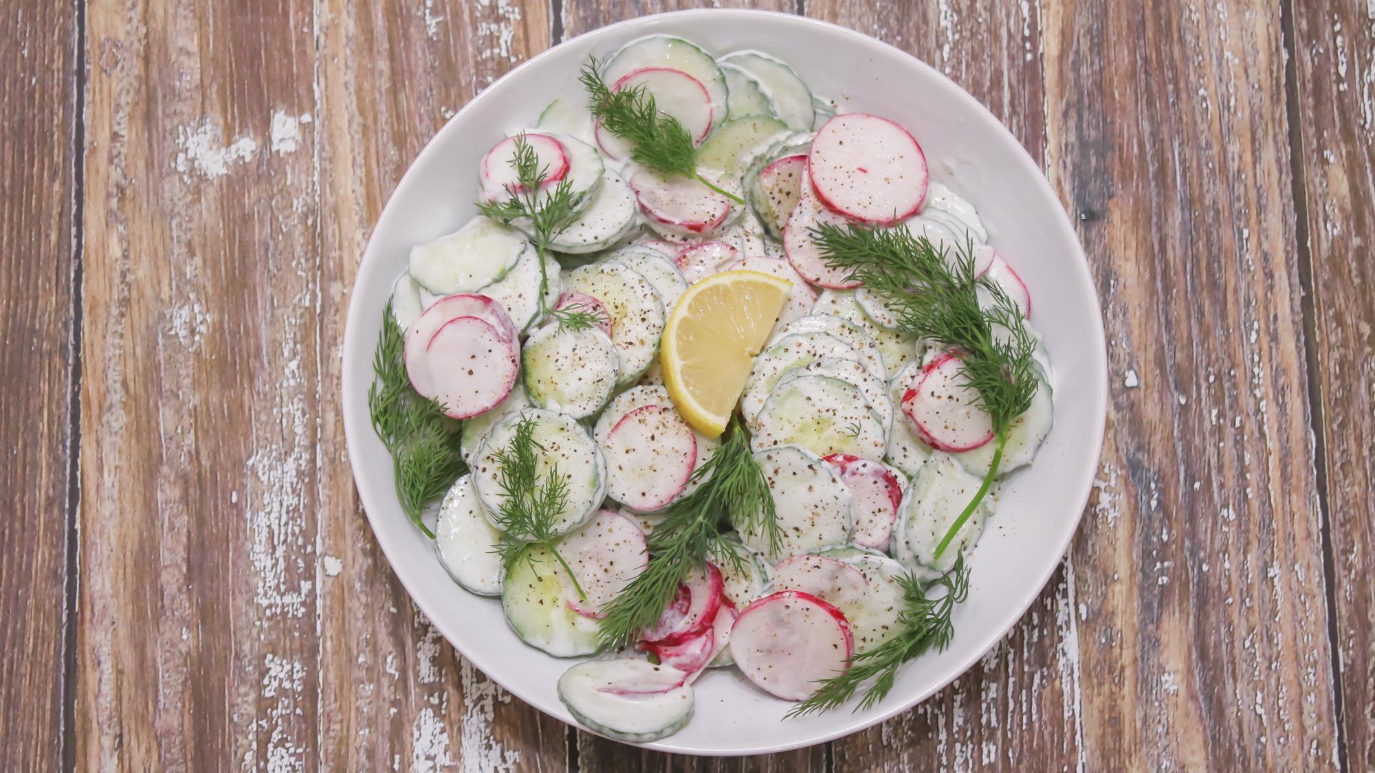 Creamy Cucumber Radish Salad Main 1
