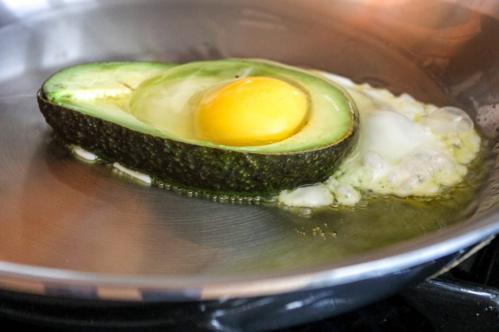 Frying Avocado Fried Egg 1