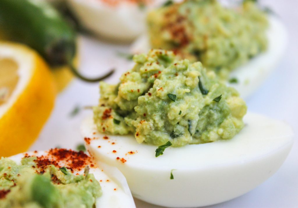 Guacamole Deviled Eggs Close Up 1