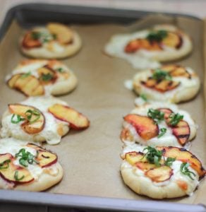 Mini Peach Basil Pizza 2 3