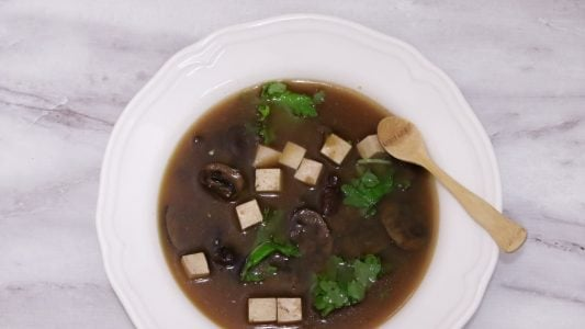 Miso Soup with Mushrooms Kale Tofu Detox Recipe Main 1