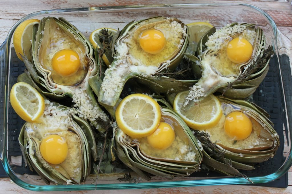 Roasted Artichokes with Eggs 1