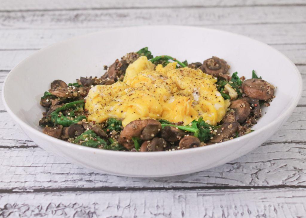 Soft Scrambled Eggs with Spinach Mushroom Quinoa 1