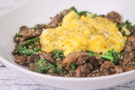 Soft Scrambled Eggs with Spinach Mushroom Quinoa Main 1