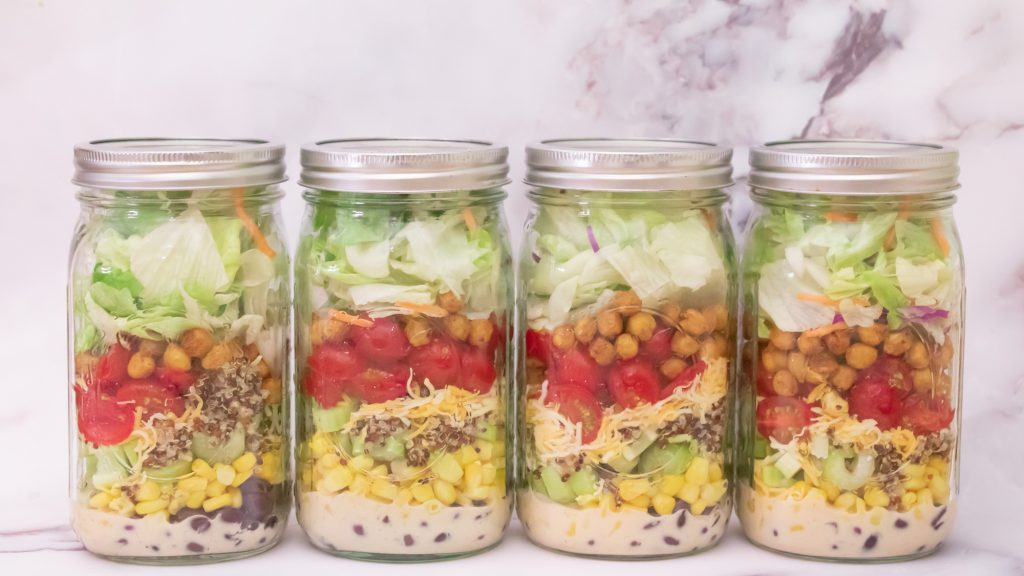 Southwest Jar Salad with Roasted Chickpeas Quinoa 1