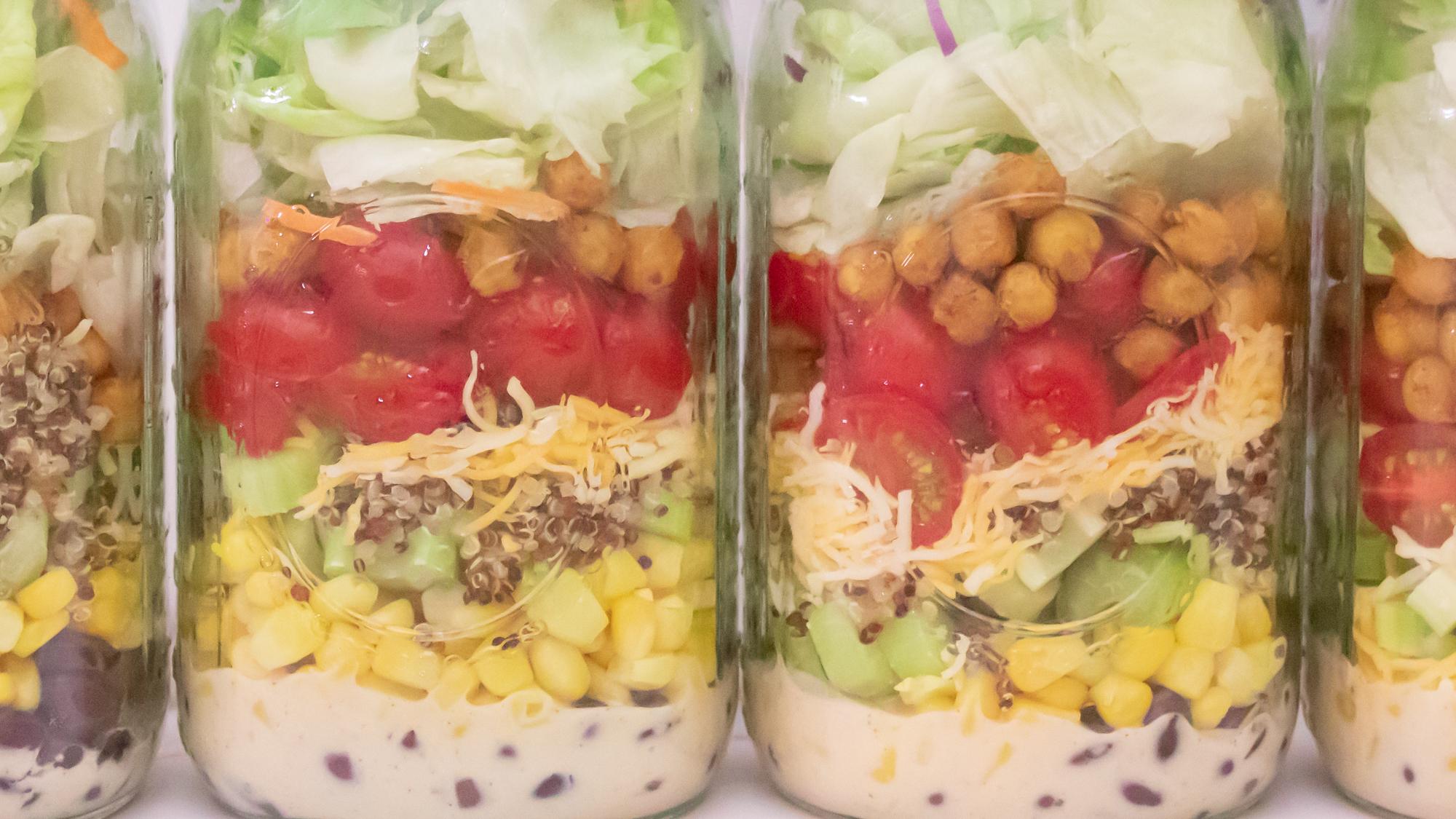Southwest Jar Salad with Roasted Chickpeas Quinoa Main 1