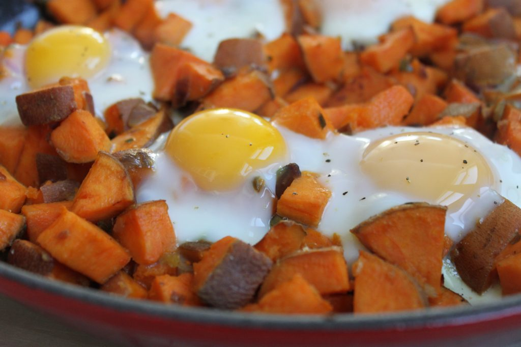 Spicy Sweet Potato Hash and Eggs 1