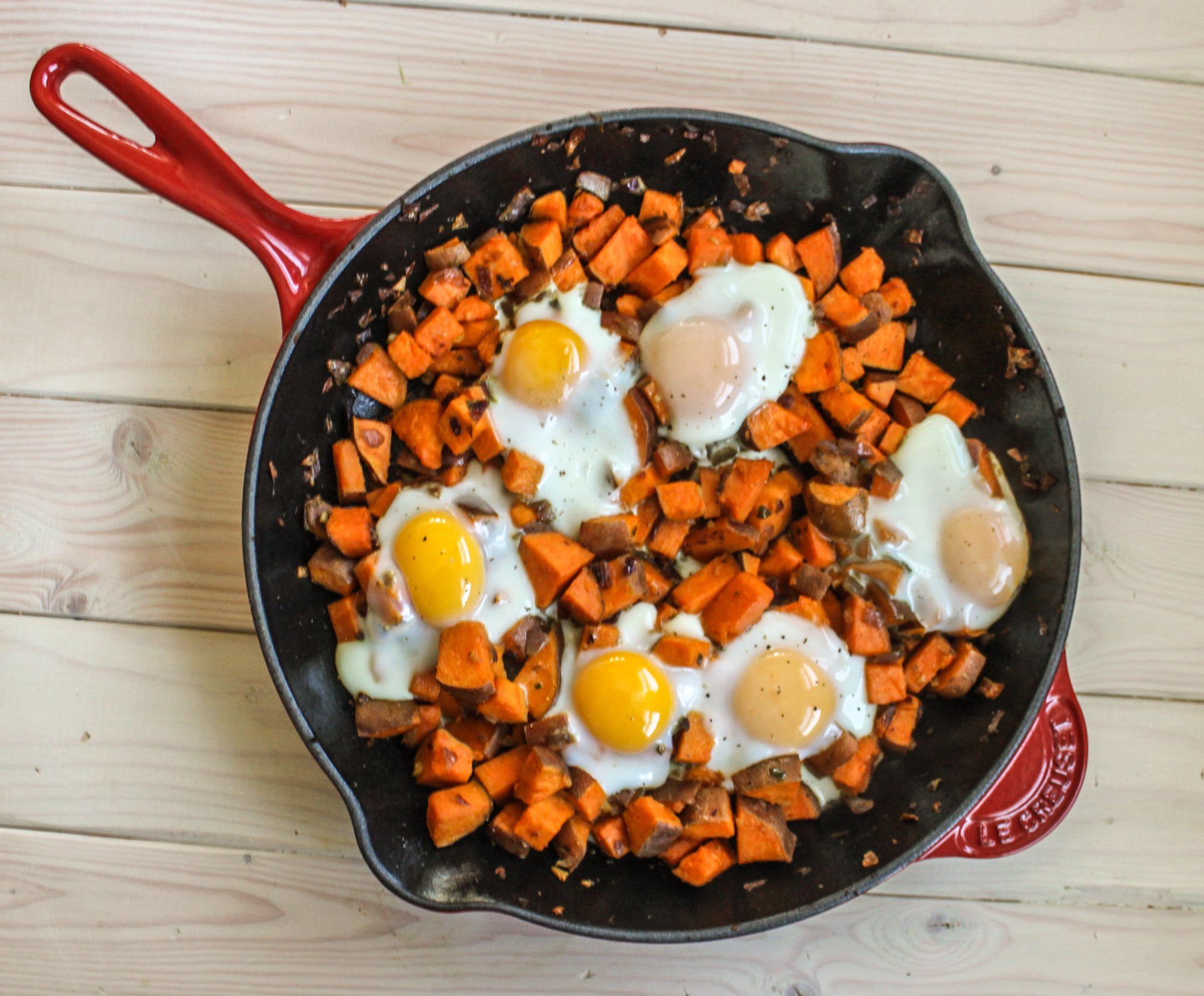 Spicy Sweet Potato Hash and Eggs Top 3