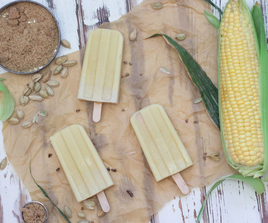 Sweet Corn Cardamom Popsicles 1