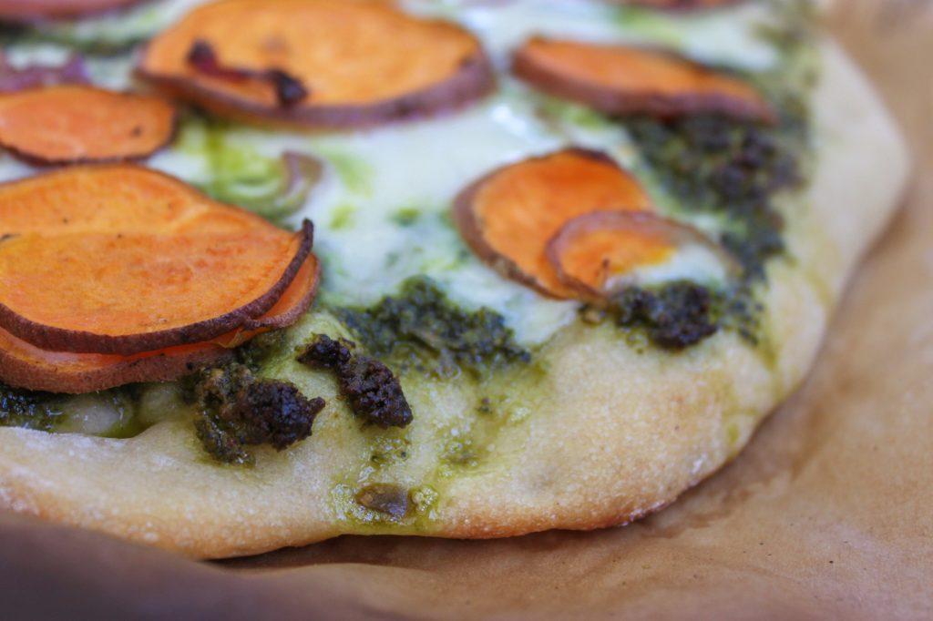 Sweet Potato Kale Pesto Pizza Close UP 1