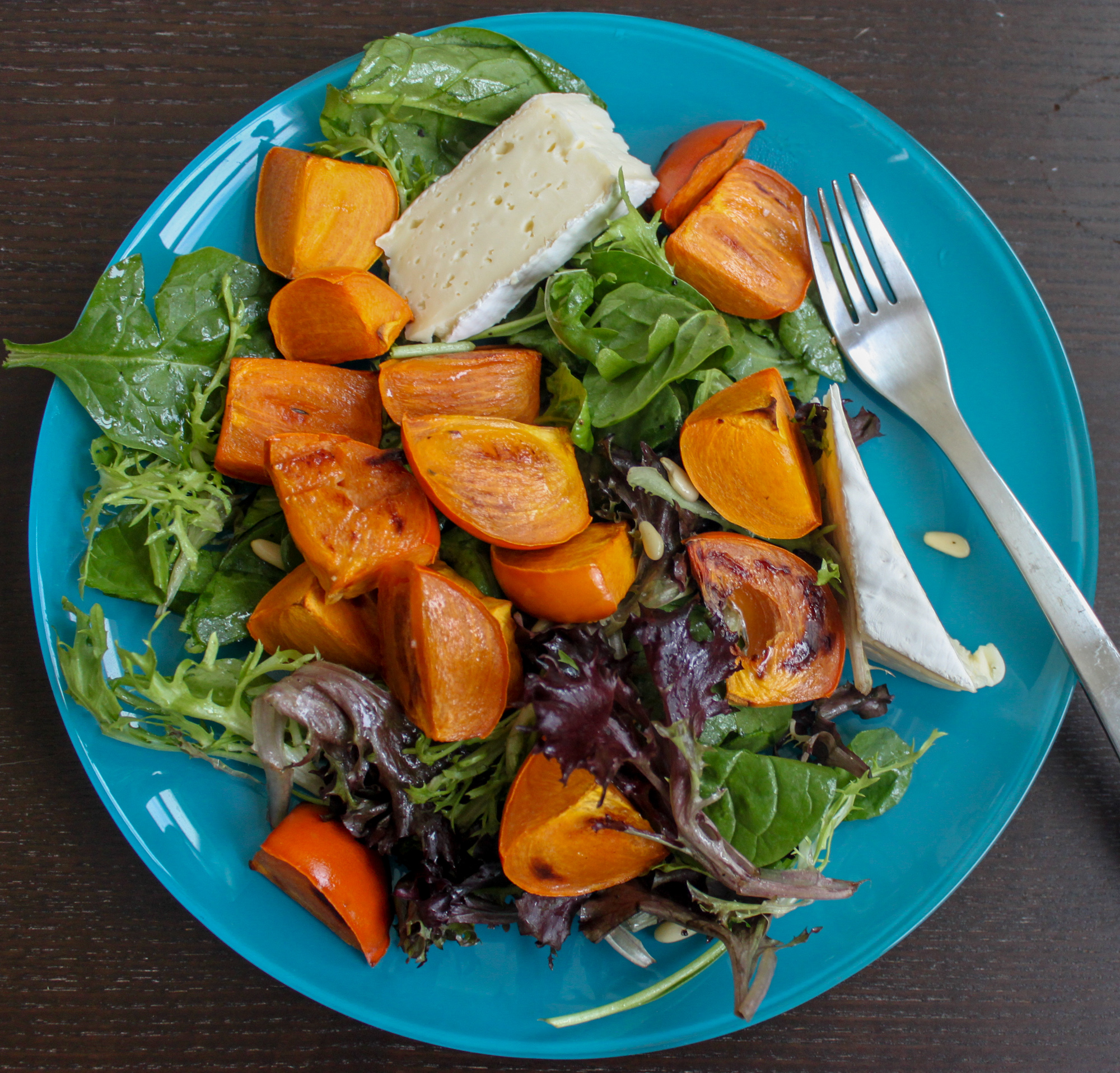 roasted persimmon brie salad 3