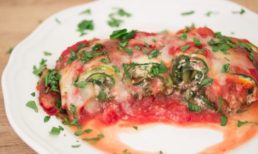 serving of zucchini lasagna roll ups 3