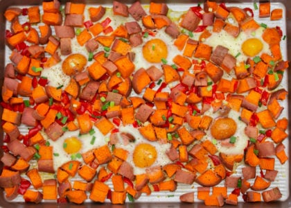 Easy Sheet Pan Sweet Potato Hash & Eggs Main