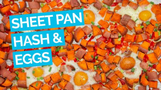Easy Sheet Pan Sweet Potato Hash & Eggs video blue