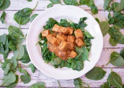 Easy Pra Ram Tofu with Roasted Spinach (Thai Peanut Sauce) Main