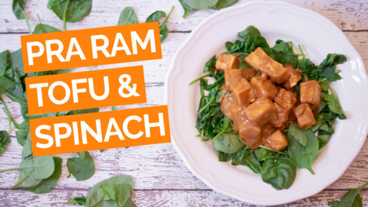 Easy Pra Ram Tofu with Roasted Spinach (Thai Peanut Sauce)_video_Orange