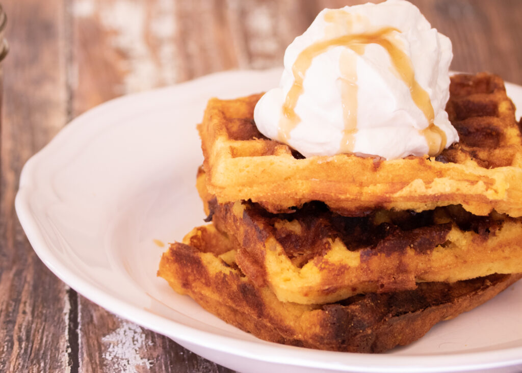 Cheddar Cornbread Waffles with Bourbon Maple Syrup Main