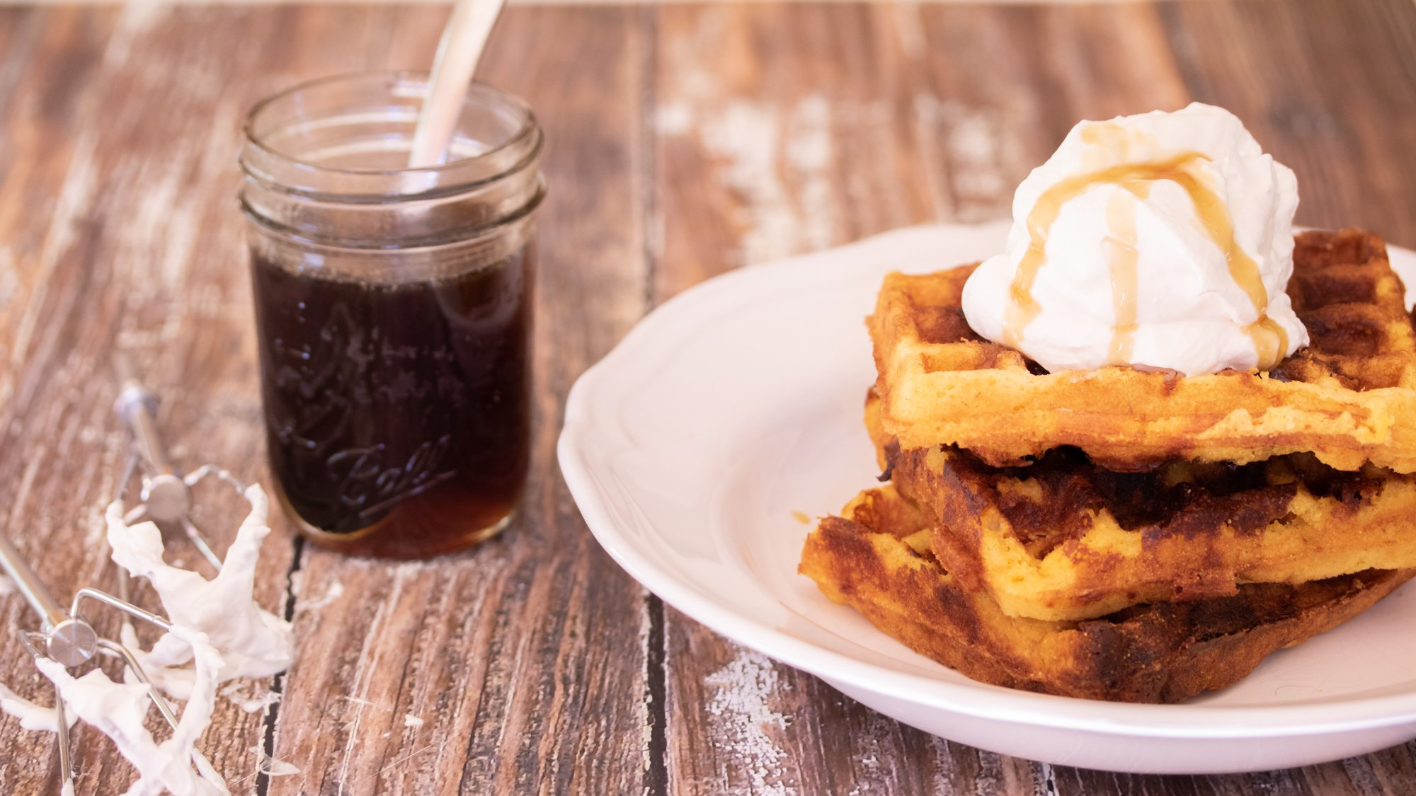 Cheddar Cornbread Waffles with Bourbon Maple Syrup Video