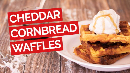 Cheddar Cornbread Waffles with Bourbon Maple Syrup video red