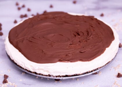 Chocolate Glazed No Bake Vanilla Cheesecake Main
