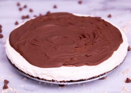 Chocolate Glazed No Bake Vanilla Cheesecake Main